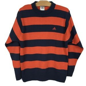 Adidas Rugby Sweater Blue Orange Stripes Crewneck